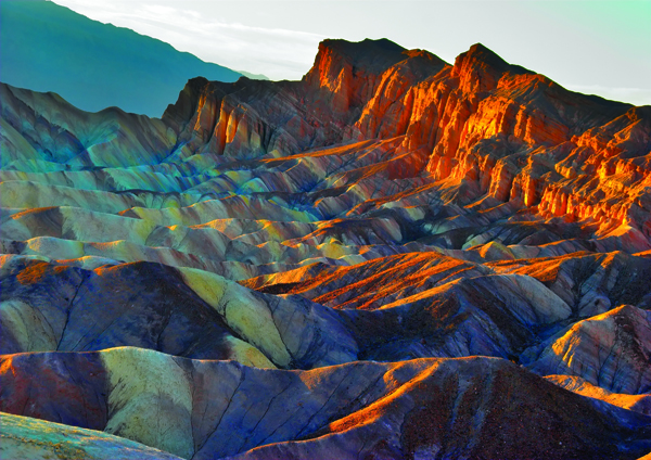 "A beautiful and well-known part of Death valley ""Zabriskie-point""."