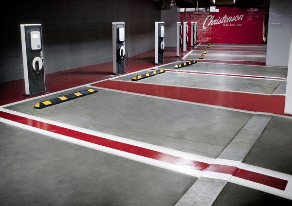 EV charging stations at the Moda Center, home of the Portland Trail Blazers NBA team (one of Green Sports Alliance's founding members)