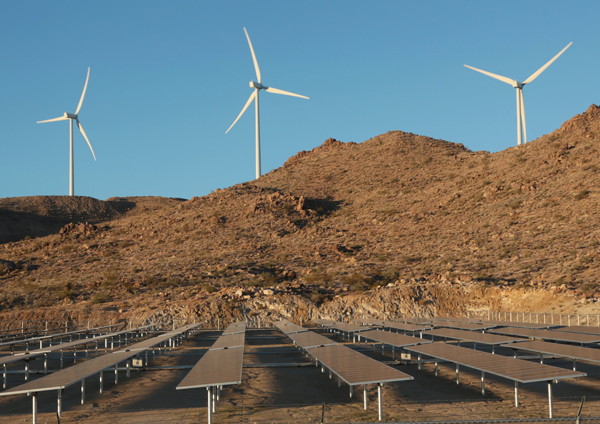 UNS windfarm with solar in Kingman, AZ. Photo by David Sanders/TEP.