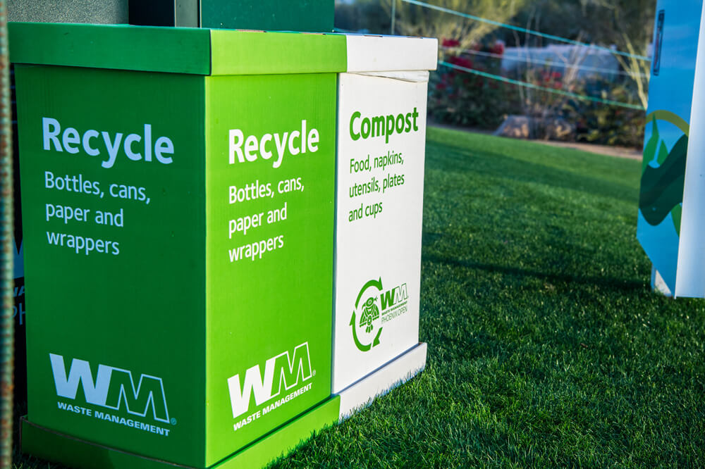 Waste Management recycle and compost container at Waste Management Phoenix Open