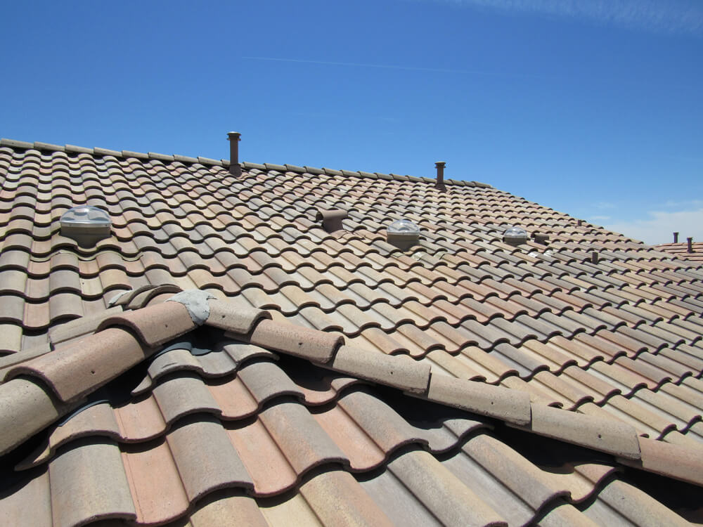 view from roof of tubular skylights on a residential home
