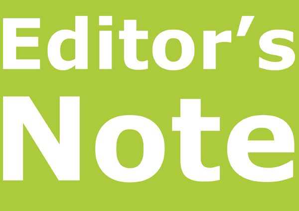Editor's Note Cover